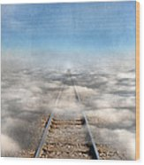 Train Tracks Into The Clouds Wood Print