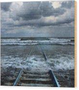 Train Tracks Into The Sea Wood Print