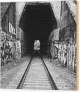 Train Tunnel At The Muir Trestle In Martinez California . 7d10235 . Black And White Wood Print