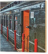 Trains - Side Of Rail Car In Round House Wood Print