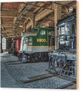 Trains - Engines Railcars Caboose In The Roundhouse Wood Print by Dan Carmichael