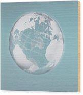Transparent Globe Displaying Three Continents Wood Print