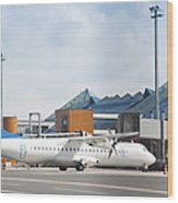 Transport Plane At The Airport Wood Print