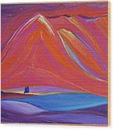 Travelers Pink Mountains Wood Print
