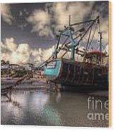 Trawler At New Quay Wood Print