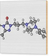 Trazadone Antidepressant Drug Molecule Wood Print by Laguna Design