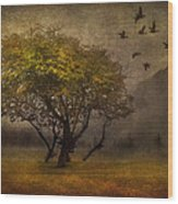 Tree And Birds Wood Print by Svetlana Sewell