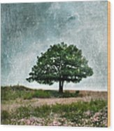 Tree And Wildflowers  Wood Print