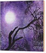 Tree Branch In Purple Moonlight Wood Print