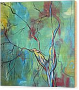 Tree Of Winding Color Wood Print