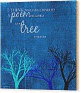 Tree Poem Wood Print