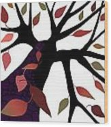 Tree With Autumn Leaves Wood Print