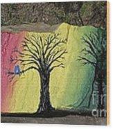 Tree With Lovebirds Wood Print by Monika Shepherdson