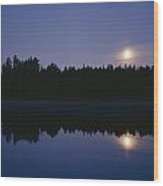 Trees And Sun Are Reflected In A Lake Wood Print