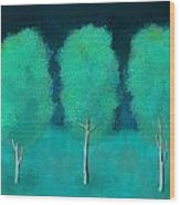 Trees In Triplicate Moonlit Winter Wood Print by Robin Lewis