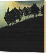Trees On Ridge Wood Print