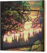 Trees Stained Glass Window Wood Print