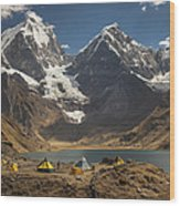 Trekkers Camp Near Carhuacocha Lake Wood Print