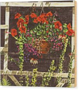 Trellis Flower Pot Wood Print