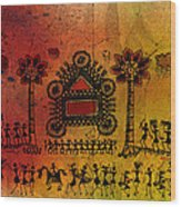 Tribal Gathering Wood Print
