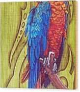 Tribal Macaw Wood Print by Diana Shively