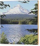 Trillium Lake At Mt. Hood Wood Print