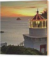 Trinidad Memorial Lighthouse Sunset Wood Print