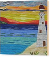 Trinity Lighthouse On The Bay Of Paradise Wood Print