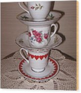 Trio Of Valentine Tea Cups  Wood Print
