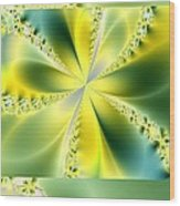 Triplicate Vertical Yellow Blossoms Wood Print