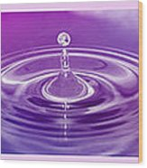 Triptych Water Drops In Purple And Pink Wood Print