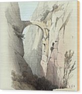 Triumphal Arch Across The Ravine Leading To Petra Wood Print by Munir Alawi