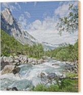Trollstigen River Wood Print