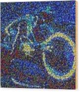 Tron Light Cycle Skittles Mosaic Wood Print