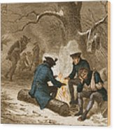 Troops At Valley Forge Wood Print