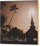 Tropical Church In Silhouette Wood Print