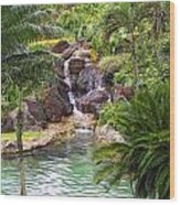 Tropical Garden Waterfall Wood Print