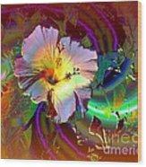 Tropical Hibiscus Explosion Wood Print by Doris Wood