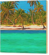 Tropical Island 5 - Painterly Wood Print