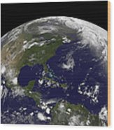 Tropical Storms On Planet Earth Wood Print