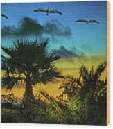 Tropical Sunset With Pelicans Wood Print
