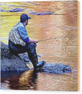 Trout Fisherman In Autumn Wood Print