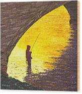 Trout Fishing Wood Print by Garry McMichael