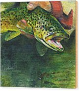 Trout In Hand Wood Print