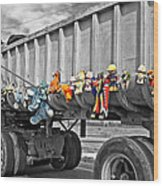 Truck And Dolls With Selective Coloring Wood Print