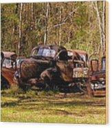 Truck Graveyard Wood Print