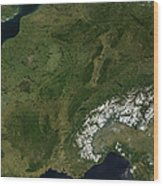 True-color Satellite View Of France Wood Print