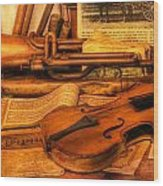 Trumpet And Stradivarius At Rest - Violin - Nostalgia - Vintage - Music -instruments  Wood Print by Lee Dos Santos