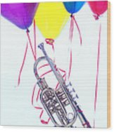 Trumpet Lifted By Balloons Wood Print by Garry Gay