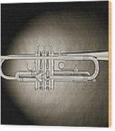 Trumpet On Spotlight B And W Wood Print